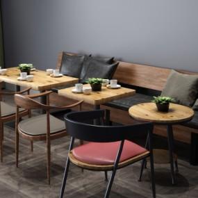 工业风餐桌椅卡座组合3D模型【ID:327791444】