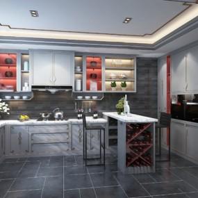 新中式厨房3D模型【ID:124891447】