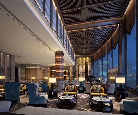 新中式酒店大堂吧休闲区3D模型【ID:56833712】