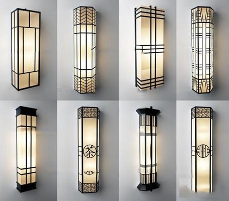 中式壁灯组合3D模型【ID:56849497】