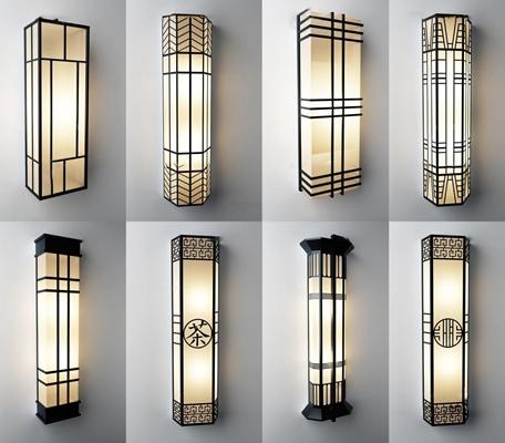 新中式铁艺壁灯组合3D模型【ID:56866698】