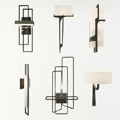 新中式简约金属单头壁灯组合3D模型【ID:56878097】