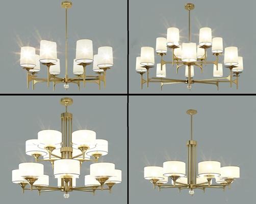 现代金属吊灯组合3D模型【ID:56884282】