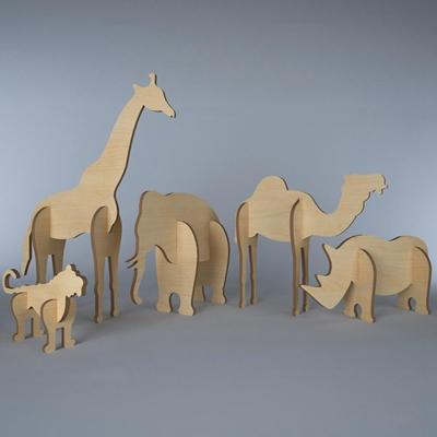 现代儿童玩具动物积木组合3D模型【ID:56887874】