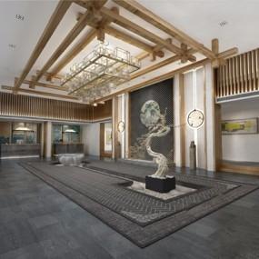 新中式民宿酒店大堂3D模型【ID:427990247】