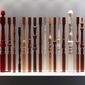 欧式实木楼梯栏杆立柱扶手集合3D模型【ID:828127508】