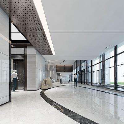 现代写字楼商务大堂前台电梯厅3D模型【ID:56963490】