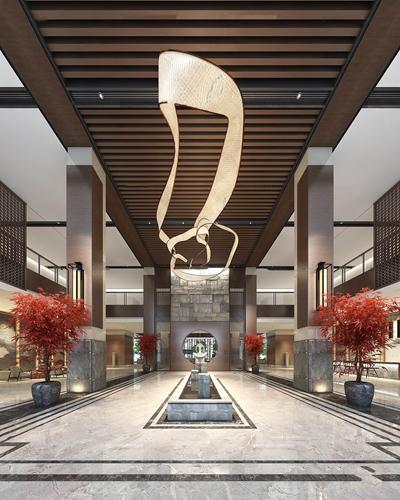 新中式酒店大堂3D模型【ID:56964619】