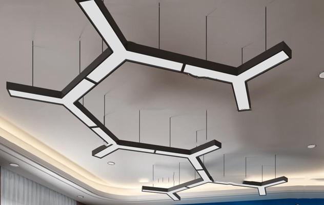 现代金属办公吊灯3D模型【ID:56966684】