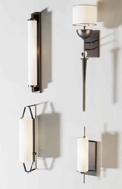 新中式金属壁灯组合3D模型【ID:56968293】