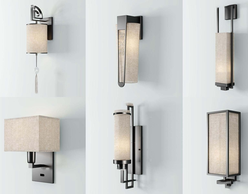 新中式金属壁灯3D模型【ID:56968398】
