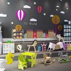 现代儿童玩具木马卡通家具组合3D模型【ID:56968970】