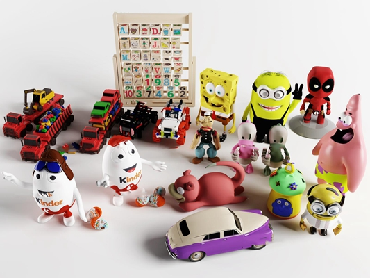 现代儿童玩具车小黄人海绵宝宝组合3D模型【ID:56972075】