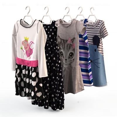 现代儿童女孩夏季服饰服装3D模型【ID:56978711】