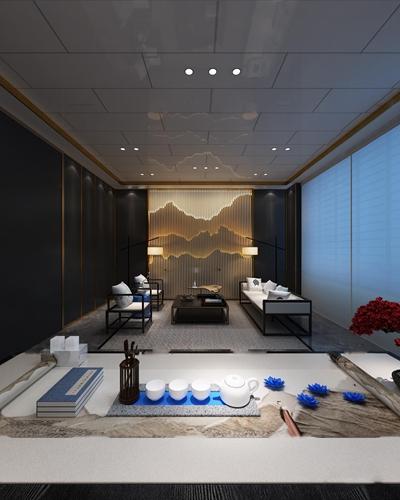 新中式会所会客室3D模型