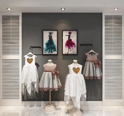 现代儿童公主裙服饰装饰画3D模型【ID:56992912】