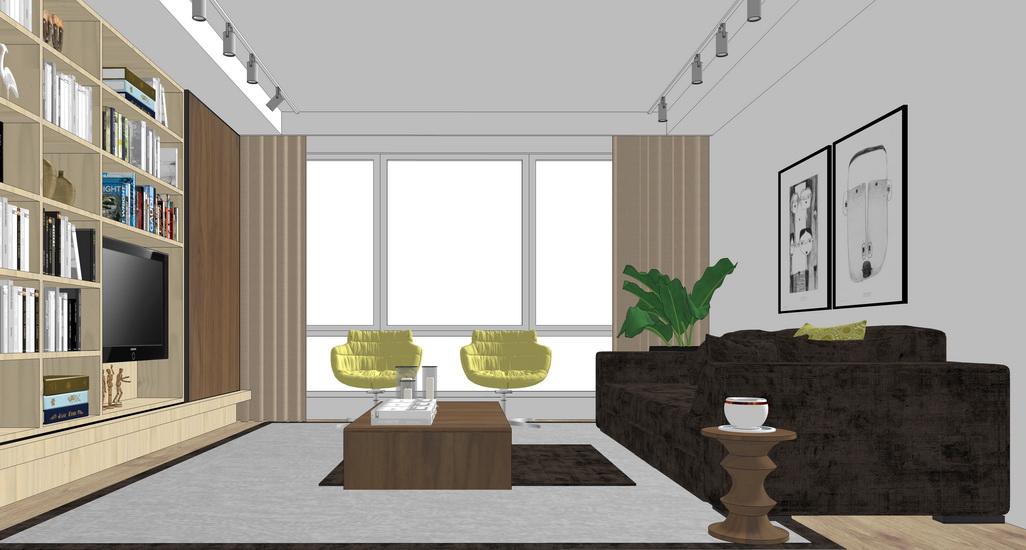 現代客廳室內設計SU模型【ID:936386897】