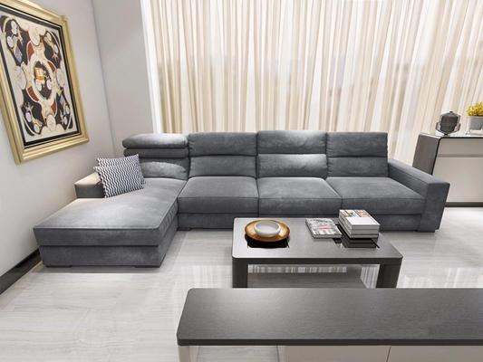 现代转角布艺沙发-L 现代多人沙发 茶几 电视柜 挂画 边柜 转角沙发