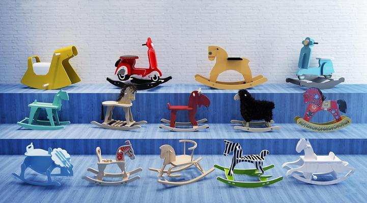 现代儿童木马摇椅玩具3D模型【ID:57004678】