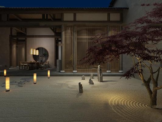 中式会所茶室3D模型【ID:57009117】