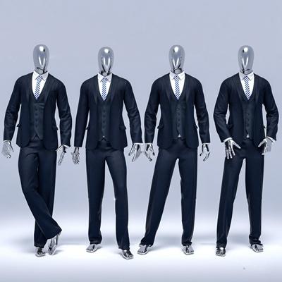 现代男士西装服饰模特组合3D模型【ID:57010314】