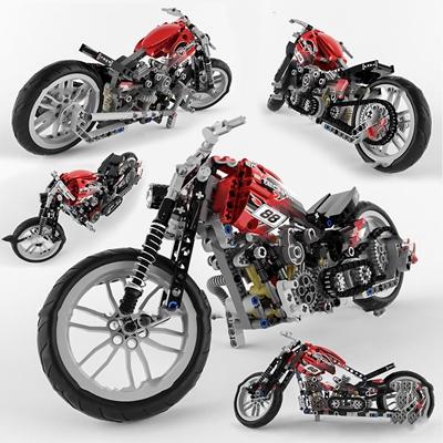 现代乐高摩托机车玩具3D模型【ID:57031670】