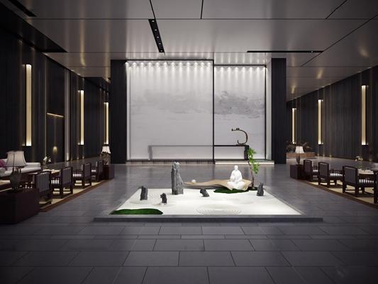 中式会所中庭休息区3D模型【ID:57041517】