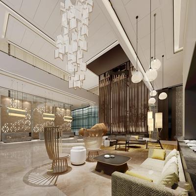 现代酒店大堂接待休息区3D模型【ID:57044216】