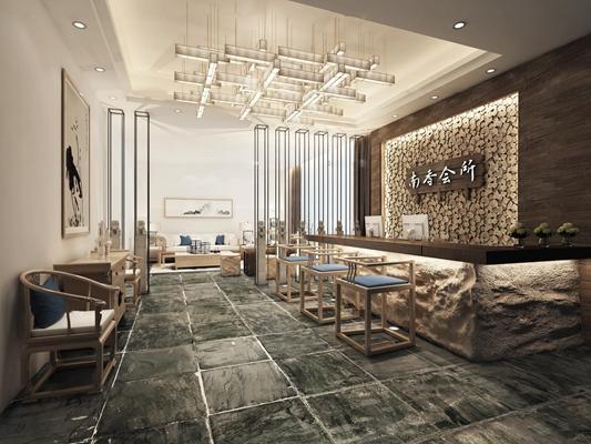 中式酒店前台接待区3D模型【ID:57044710】