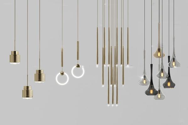 現代金屬吊燈組合3D模型【ID:57046385】