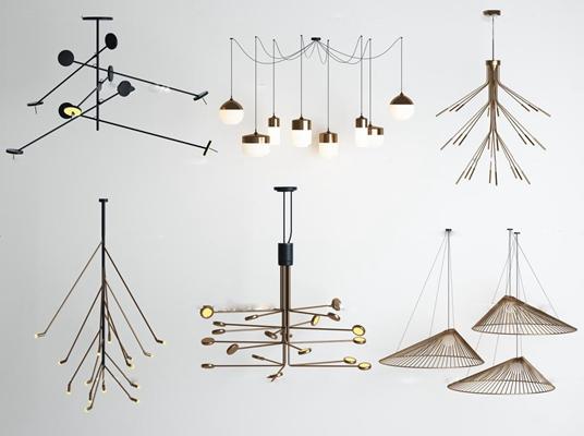 北歐創意點線結合吊燈3D模型【ID:57047985】