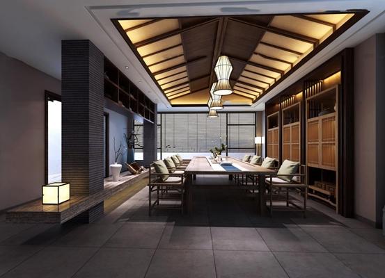 中式会所茶室3D模型【ID:57048817】