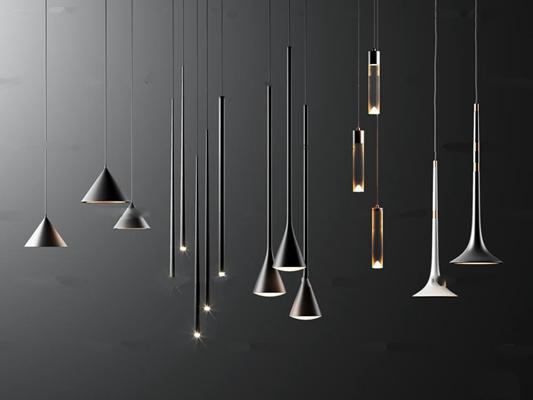 现代金属小吊灯组合3D模型【ID:57049982】