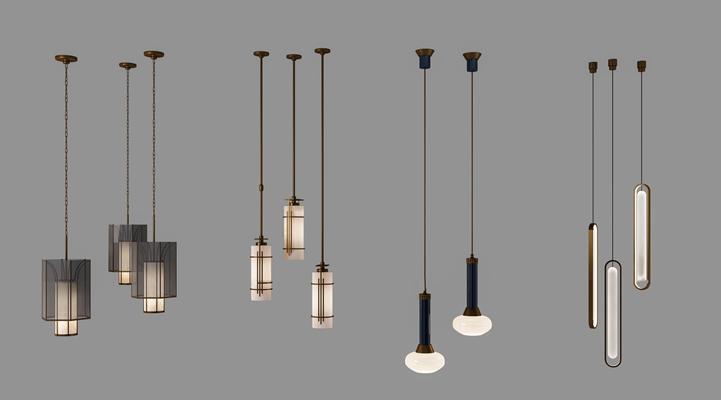 现代简约金属小吊灯组合3D模型【ID:57056184】