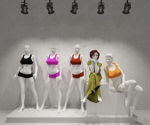 现代服装店女士内衣模特组合3D模型【ID:57058615】