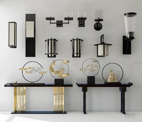 中式壁灯玄关端景条案摆件组合3D模型【ID:57058990】