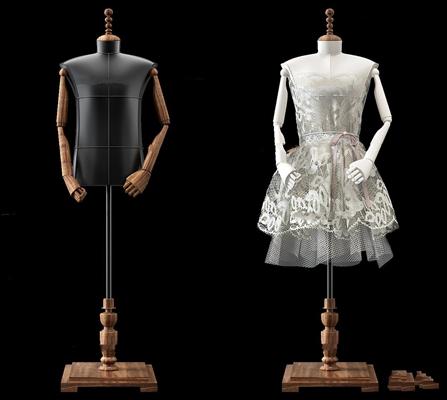 现代模特衣架组合3D模型【ID:57069518】