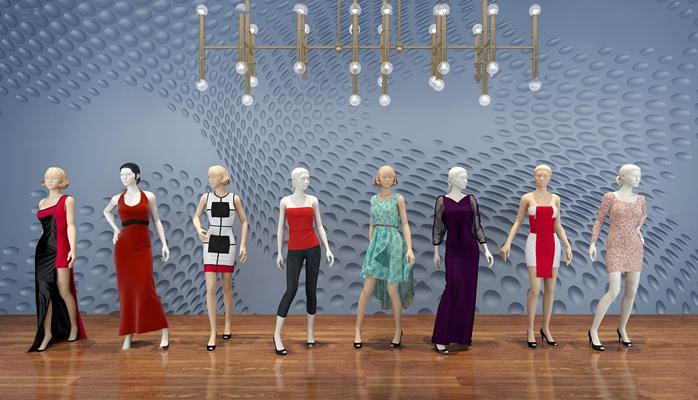 现代女装模特吊灯橱窗3d模型【ID:57070511】