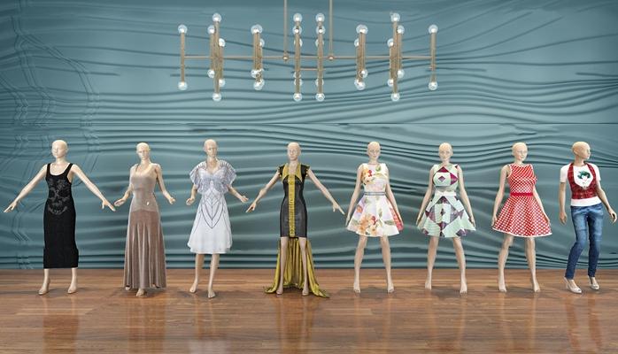 现代女装模特吊灯组合3d模型【ID:57070514】