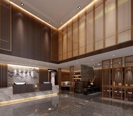 现代酒店大厅3D模型