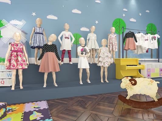 现代童装模特钢琴组合3D模型【ID:57072714】