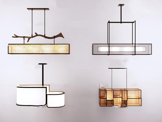 新中式金屬吊燈組合3D模型【ID:57076886】