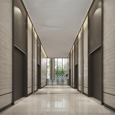 现代酒店大堂电梯厅3D模型【ID:57080291】
