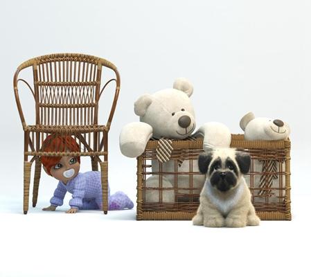 现代藤编椅儿童玩具娃娃小熊组合3D模型【ID:57082372】