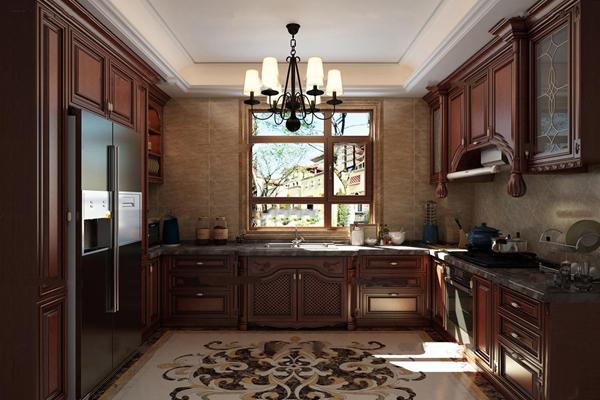美式实木橱柜厨房3D模型【ID:57146708】