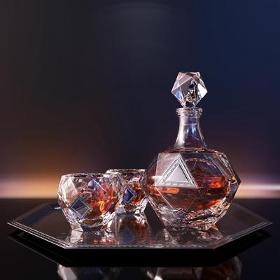 现代酒瓶酒杯组合3D模型