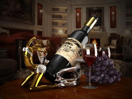 现代人物造型酒架红酒3D模型【ID:57146907】