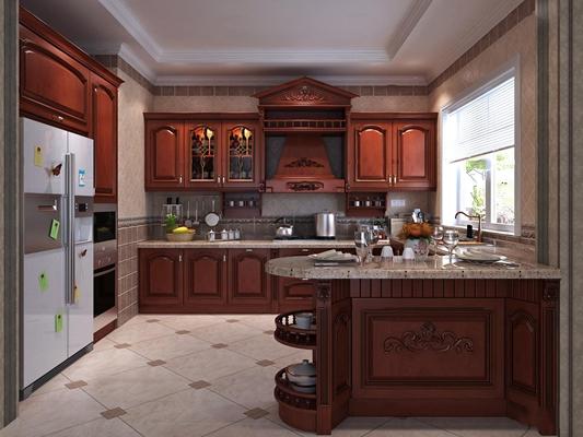 欧式厨房实木橱柜组合3D模型【ID:519741028】