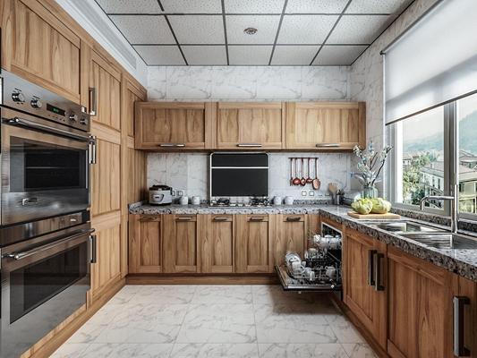 现代厨房橱柜组合3D模型【ID:419742904】