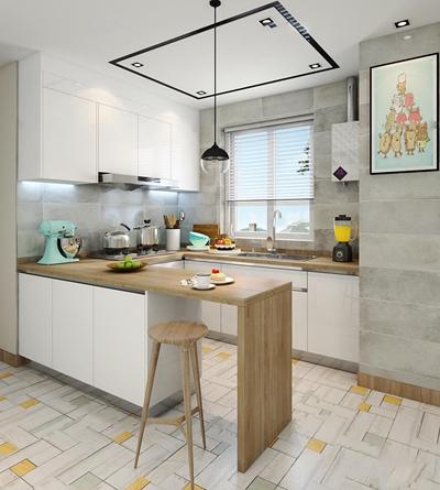 北欧厨房橱柜吧台3D模型【ID:57147303】